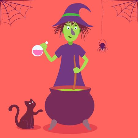 hag: Vector Halloween card with cute cartoon witch.