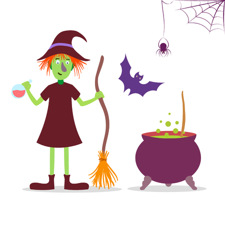 witch spider: Vector Halloween set illustration with cute cartoon witch, spider, cauldron and  .