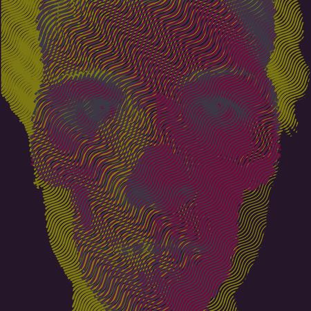 sapiens: Vector illustration double exposure engraving skull and portrait. Illustration