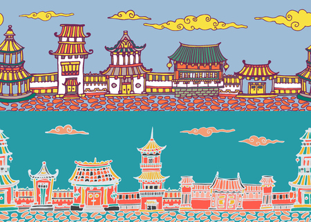 Two hand drawn vector seamless panorama of chinese or japanese old town