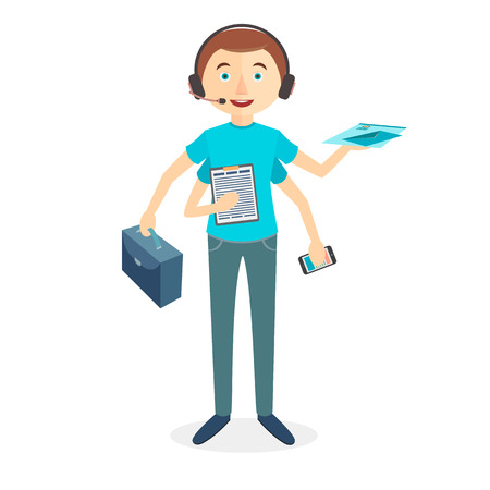 four hands: Worker with four hands and multi skill. Keep calm. Business concept. Flat design