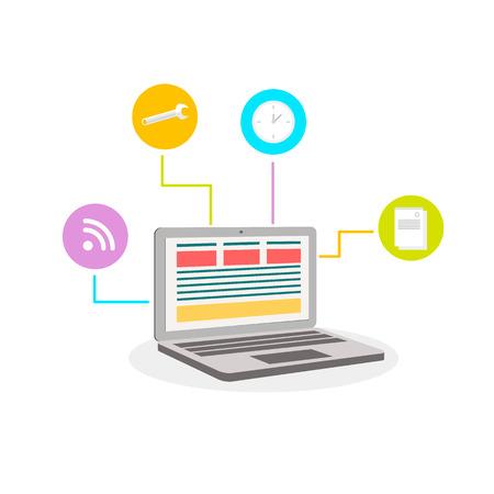 icono computadora: Ilustraci�n moderna plana con ordenador port�til y s�mbolos en el fondo blanco