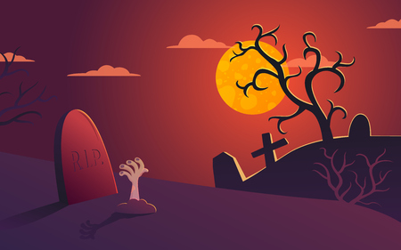 Halloween vector poster illustration with cemetery at night