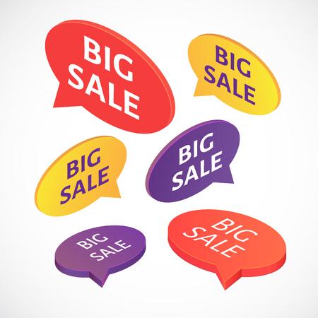 big sale: Vector isometric BIG SALE text bubble set