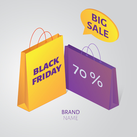 outumn: Vector isometric Black friday colorful packages and  speech bubble