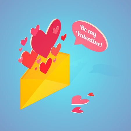 text bubble vector: Valentines Day postcard with isometric envelope hearts and text bubble. Vector illustration.