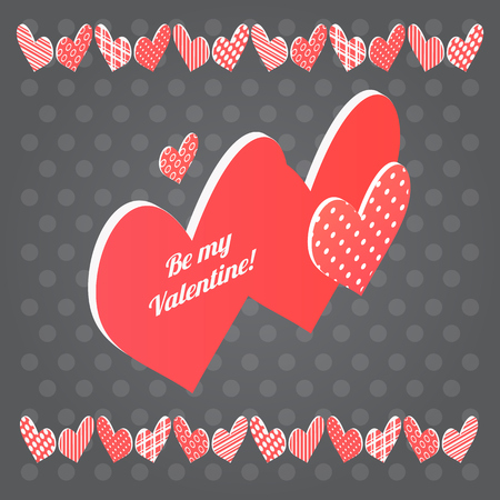 amor: Red heart  on black background. Vector isometric Valentines day postcard
