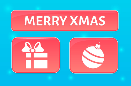 christmass: Vector pink merry xmas buttons with gift box and christmass ball for website