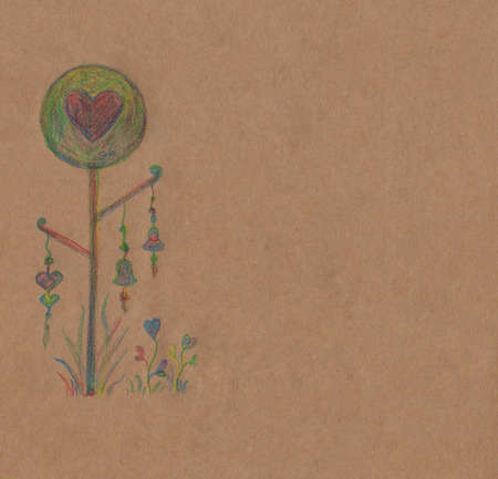 road to love: Road love sign. Valentines day color pencil illustration on craft paper