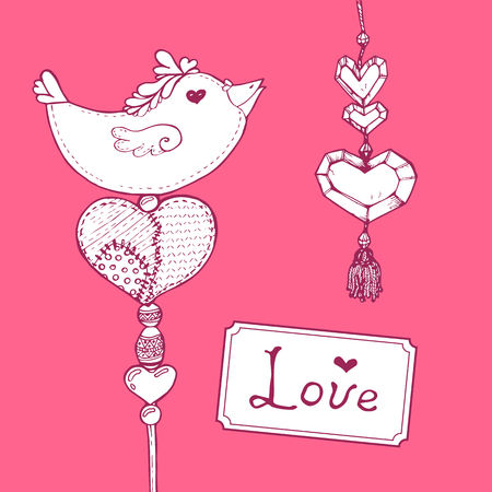 darning: Vector handdrawn card on pink background.  Valentines day illustration.