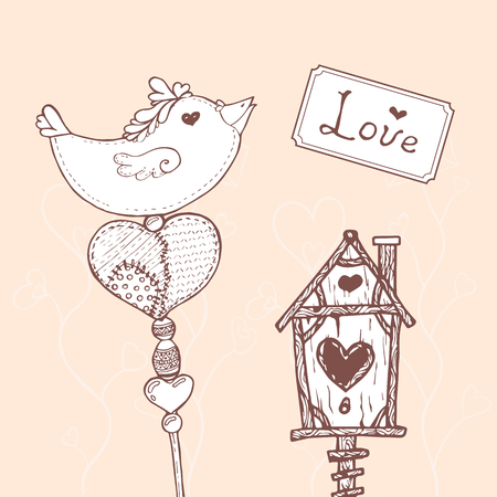 darning: Vector retro Valentines day card for scrapbooking with cute handdrawn elements. Stock Photo
