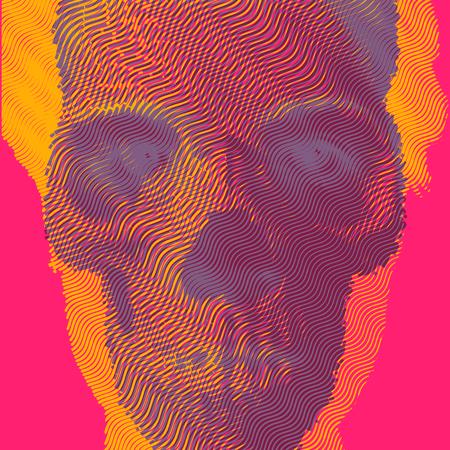 Vector illustration double exposure engraving skull and portrait. Illustration