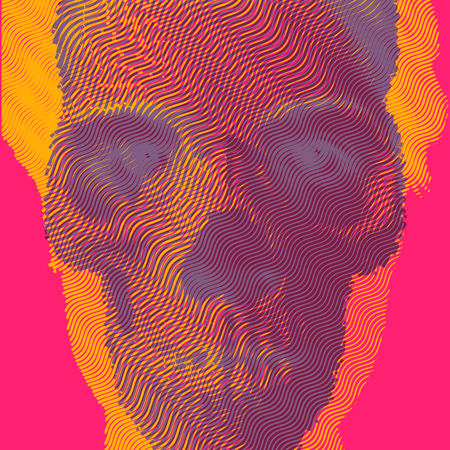 double exposure: Vector illustration double exposure engraving skull and portrait. Illustration