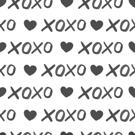 xoxo: Vector seamless pattern. Monochrome hand drawn print with hipster XOXO. Trendy monochrome texture with simbols of hugs and kisses. Trendy graphic design.