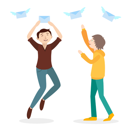 addressee: Vector flat illustration. Two happy men catching mails. Illustration