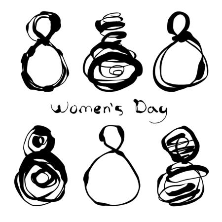 wallpaper International Women s Day: Thiết lập của sáu số decoretive 8 cho thiết kế ngày của phụ nữ và tay vẽ chữ. Có thể sử dụng cho các bản in. Thiết kế Vector. Tay rút ra các yếu tố.