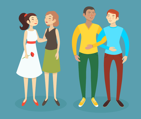romantic sex: Set of cartoon vector illustrations of happy  homosexual men and women couples. Caucasian and asian women and latino and caucasian men.