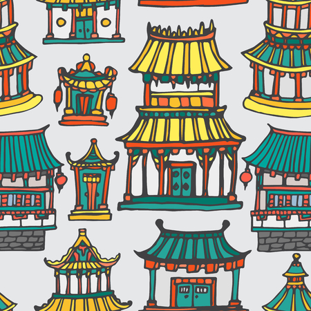 far east: Vector asian houses seamless pattern. Hand drawn colorful Far East architecture. Illustration
