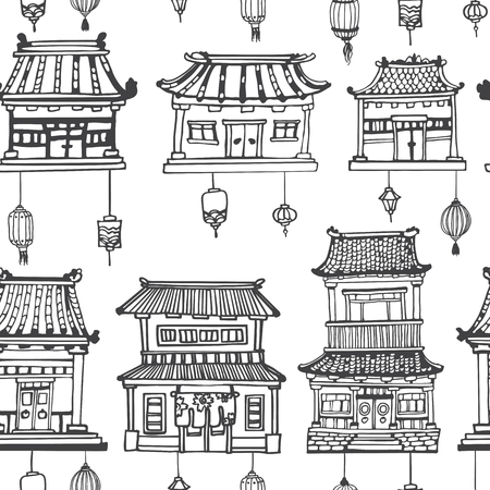 Vector black and white oriental seamless pattern with asian architecture and lanterns.