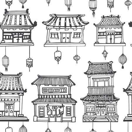 Vector zwart en wit oosterse naadloze patroon met Aziatische architectuur en lantaarns. Stock Illustratie