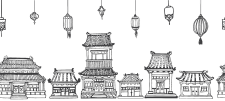 traditional illustration: Vector seamless line black and white panorama of asian old town with oriental architecture and festive lanterns.