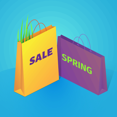 Spring colorful sale illustration on blue background. On the illustration are shopping bags and grass. Isometric vector.