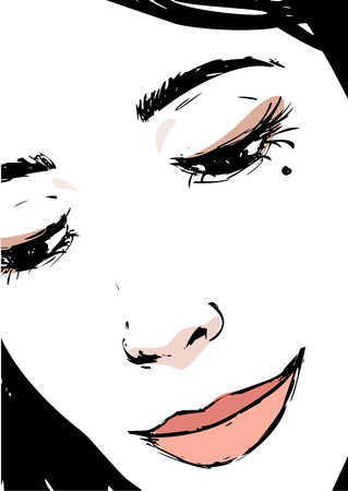 female face closeup: Woman closeup portrait in sketch style. Beautiful young lady is watching down. Female face, hand drawn art fashion illustration. Illustration