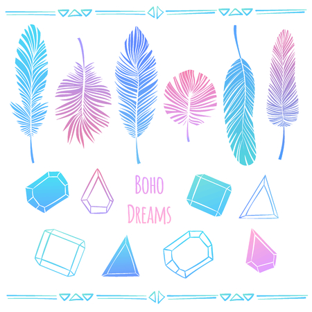 Vector set of feathers and crystals in boho style. Bright hand drawn illustration in bright pink, purple and blue colors.