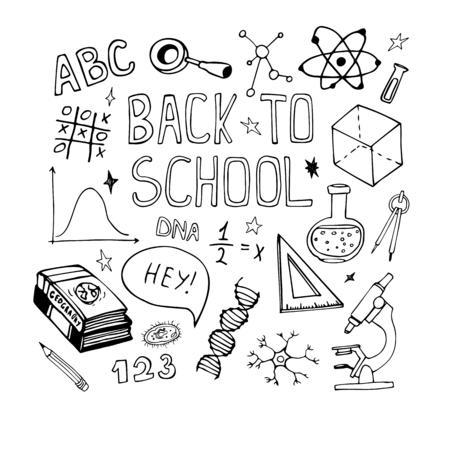 dibujado a mano garabatos de educación. Matemáticas, dibujo boceto biología. Volver a la ilustración de la escuela. Línea de objetos en el fondo blanco.