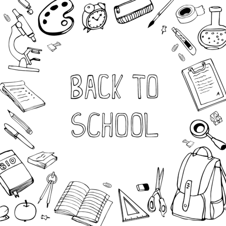 aple: Back to school vector illustration. Hand drawn school equipment doodles.