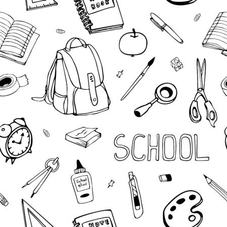 hand drawn back to school seamless pattern. School equipment doodles. For designs, textile, print. Çizim