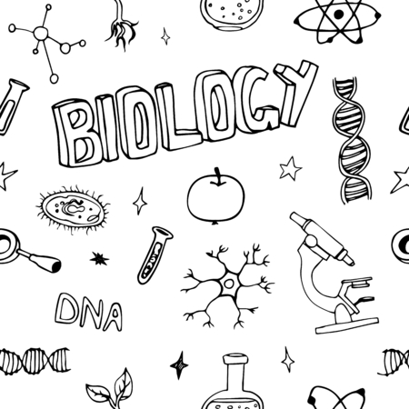 Science doodles seamless vector pattern. Biology symbols. For textile, web background and typography