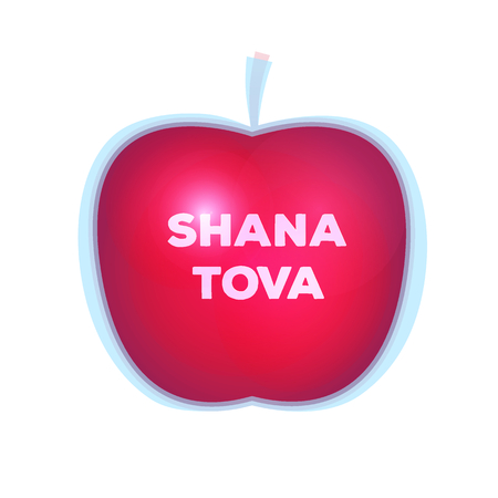 Shanah Tovah greeting card. Isolated apple vector illustration.