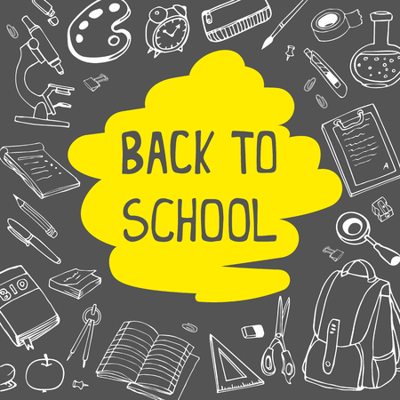 Back to school doodles on chalkboard background with yellow underline. Vector hand drawing line illustration.