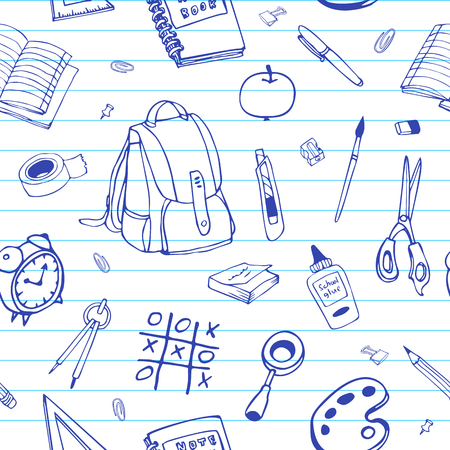 Vector seamless hand drawn pattern. Back to school doodles on ruled paper. For typography, textile, etc.