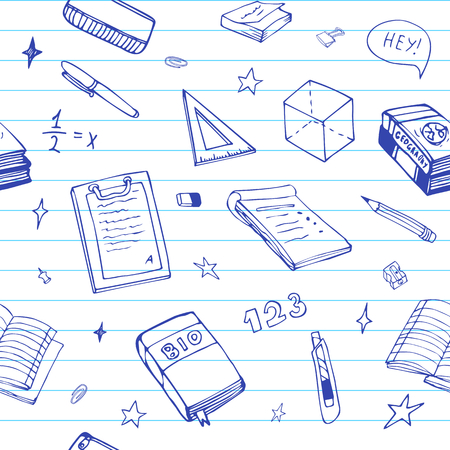 Seamless background with school object and symbols on blue ruled paper. Vector education pattern doodle. Çizim