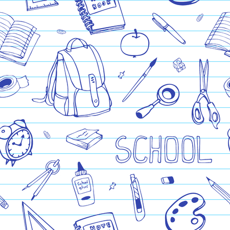 ruled: Vector hand drawn back to school seamless pattern. School equipment doodles on ruled paper. For designs, textile, print.
