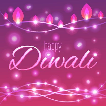 Vector illustration of decorated lighted background for Diwali. Happy Diwali card. Çizim