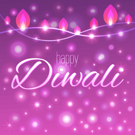 Vector illustration of decorated background for Diwali with light garlands. Happy Diwali card.