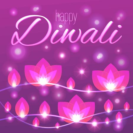 Vector illustration with decorative flower lights garlands for Diwali. Happy Diwali greeting card.