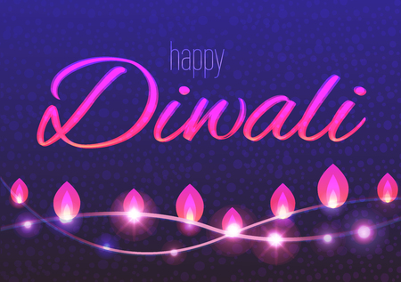 Horizontal vector card of decorated background for Diwali with light garlands.. Happy Diwali flyer.
