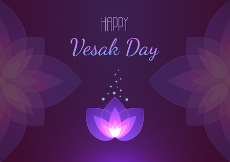 Vesak Day background horizontal banner. Vector greeting card. Eps 10 illustration.