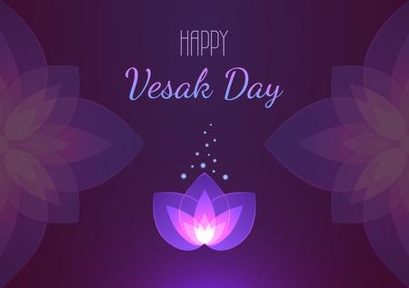 Vesak Day background horizontal banner. Vector greeting card. Eps 10 illustration.