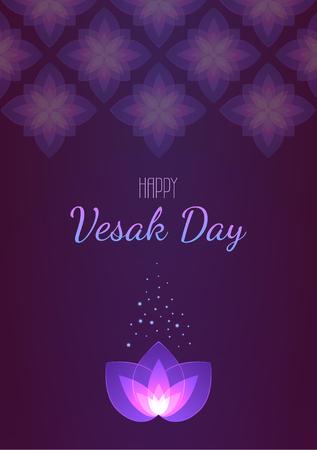 Vesak Day background vertical banner. Vector greeting card. Eps 10 illustration. Stock Illustratie