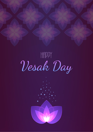 Vesak Day background vertical banner. Vector greeting card. Eps 10 illustration. Çizim