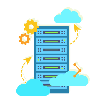 Hosting concept with data storage and clouds. Flat vector illustration. Çizim