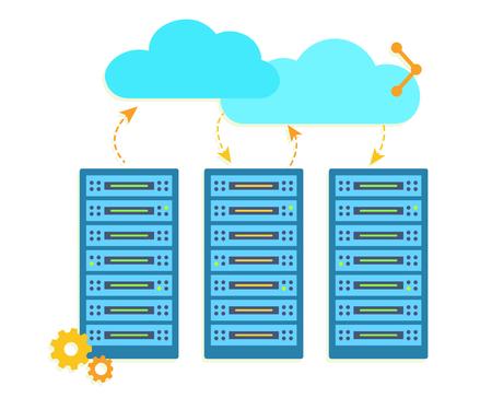 Hosting concept with data storages. Exchange information. Flat vector illustration on white background. Çizim