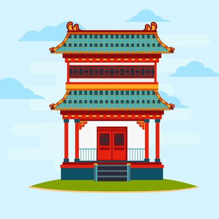 Vector flat illustration. Colorful oriental building. Light blue background with glouds. Asian architecture.
