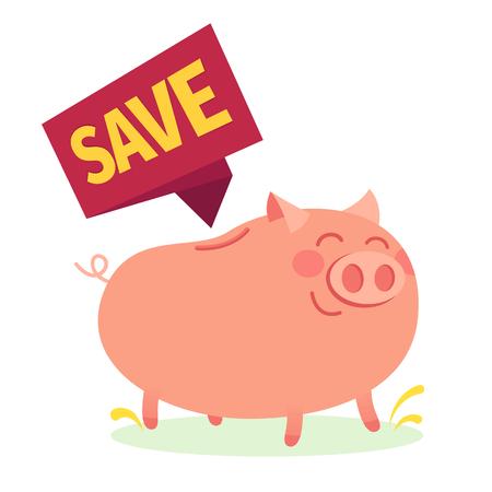 Business design. Very delight money pig over white background. Save tag. Vector illustration. Illustration