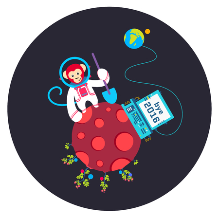 Funny greeting card Bye Old Year 2016. Vector illustration with monkey on red planet. Round space print. Stok Fotoğraf